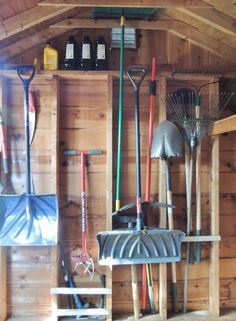 Shed Organization. (slats to hold garden tools in recesses)