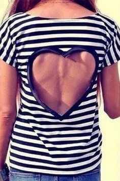 Chic Round Neck Short Sleeve Cut Out Striped Women's T-Shirt