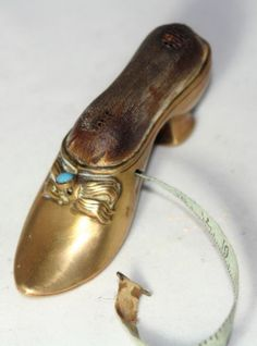 Antique Brass Shoe w Pearl Tape Measure Pin Cushion Combo RARE | eBay