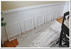 Picture frame wainscoting - genius! Dollartree.com sells wooden frames by the case...