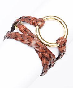 Look at this #zulilyfind! Henri Lou Brown & Gold 'O' Ring Leather Braid Bracelet by Henri Lou #zulilyfinds