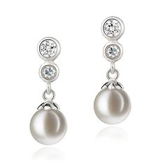Colleen White 78mm AAAA Quality Freshwater 925 Sterling Silver Cultured Pearl Earring Pair ** You can find more details by visiting the image link.(This is an Amazon affiliate link and I receive a commission for the sales)