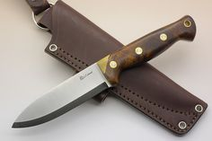 Knives By Maker :: LT Wright Handcrafted :: Forest Trail :: LT Wright Knives: Forest Trail (Scandi Grind, Spear Point) Fixed Blade Bushcraft Knife w/ Desert Ironwood Handle - Leather Sheath, 1