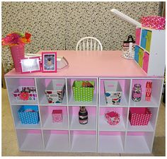 Desk made from particle board and block shelves. Once, Cut Twice: DIY: Crafting Desk Diy Crafts Desk, Craft Desk, Space Crafts, Craft Rooms, Craft Space, Craft Tables, Fun Crafts, Sweet Home, Cube Unit