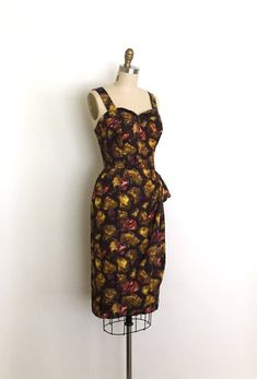 vintage 1950s dress 50s winged bust sarong dress