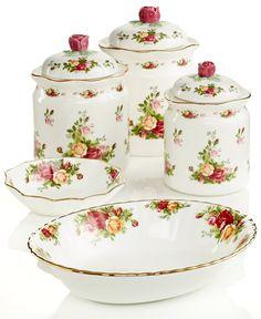 Royal Albert Old Country Roses Serveware Collection - Fine China - Macy's Royal Albert, China Tea Sets, China Patterns, China Dinnerware, Dinnerware Sets, Vintage China, Vintage Teacups, Fine China, Tea Pots