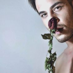 #men#style#naked#rose#face#portrait