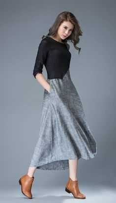 d8c9c30b4 Linen Dress black dress gray dress maxi dress long dress Vestidos De  Colores, Vestidos De