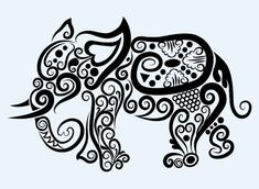 Hand drawn elephant decoration pattern vector – Would love to trace this!!!!!