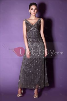 Sweet V-neck A-Line Ankle-length Embroidery Beaded Taline's Mother of The Bride Dress : Tidebuy.com