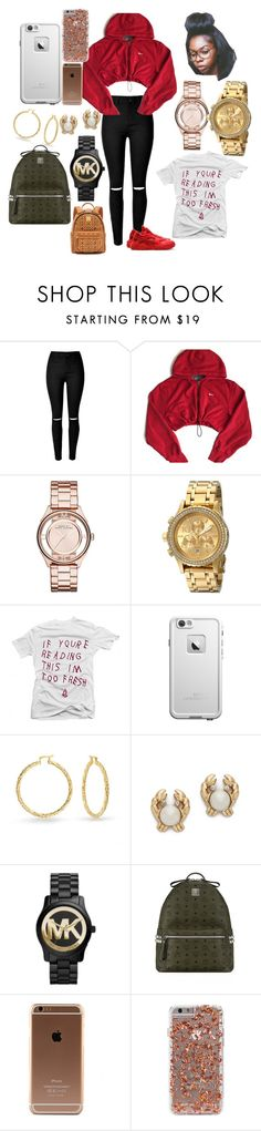 """"""""""" by urbanfashionnn ❤ liked on Polyvore featuring NIKE, Marc by Marc Jacobs, Nixon, Bling Jewelry, Kate Spade, Michael Kors, MCM, women's clothing, women and female"""