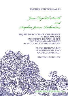 FREE PDF Download. Paisley Print Invitation - easy to edit and print at home.