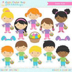 easter clipart clip art digital  Easter Kids by DigitalBakeShop