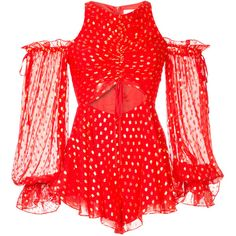 Alice Mccall Did It Again playsuit (1.775 BRL) ❤ liked on Polyvore featuring jumpsuits, rompers, red, cut out romper, polka dot romper, red rompers, red romper and alice mccall