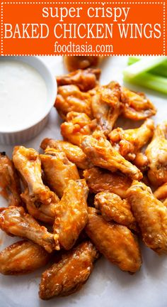 Super Crispy Baked Chicken Wings These easy Baked Chicken Wings are amazingly crispy and crunchy. With a surprise ingredient that you probably have on hand and a simple technique, you can have Super Crispy Baked Chicken Wings with minimal effort. Easy Baked Chicken Wings, Baked Chicken Wings Buffalo, Buffalo Wild Wings, Chicken Wings Recipe Oven Honey, Marinade For Chicken Wings, Crispy Buffalo Wings Recipe, Oven Roasted Chicken Wings, Chiken Wings, Chicken Wing Seasoning