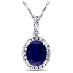 Allurez Blue Sapphire & Halo Diamond Pendant Necklace in 14k White... ($590) ❤ liked on Polyvore featuring jewelry, necklaces, blue, accessories, white gold, white gold necklace, 14k white gold necklace, white gold pendant necklace, diamond halo pendant and blue pendant necklace