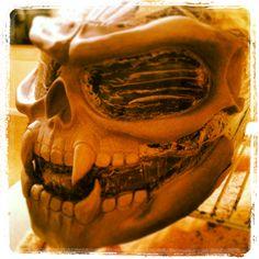 Custom skull motorcycle helmet, still in initial sculpting phases.