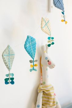 Crochet baby mobile crochet kite garland crochet kites by byGu