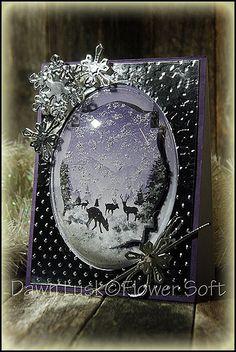 Metal embossed framed card by Dawn Lusk: Flower Soft- Winter Wonderland Card Creators
