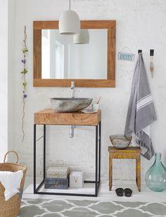 Sehr edler Waschtisch mit einem Rahmen aus Metall, einer extra starken Holzplatte und einem Vulkanstein Becken