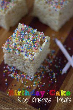 Funfetti, Sprinkles, Cake Mix oh my! - Birthday Cake Rice Krispies Treats by sweetasacookie.com #birthday #party