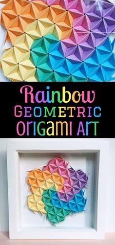 A beautiful geometric piece of artwork to brighten up any room! #ad #origami #wallart #rainbow #geometric #beautiful #etsyfinds