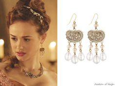 """In the episode (""""Terror of the Faithful"""") Princess Claude wears these Stephen Dweck Rose Quartz Engraved Earrings Reign Mary, Mary Queen Of Scots, Reign Hairstyles, Reign Tv Show, Reign Dresses, Tv Show Outfits, Reign Fashion, Melissa Sweet, Stephen Dweck"""