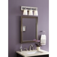 Lowes Medicine Cabinets With Lights Glamorous Shop Allen  Roth 2225In X 3025In Brush Nickel Metal Surface Inspiration