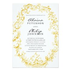 "Elegant Gold Frame Wedding Invitation Template 5"" X 7"" Invitation Card $2.16 per card"