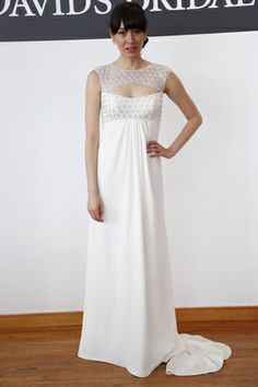So unique! This David's Bridal wedding gown features a cutout neckline. Davids Bridal Wedding Gowns, Wedding Dresses, Next Wedding, Celebrity Weddings, Passion For Fashion, Ball Gowns, Bridesmaid, Formal Dresses, Celebrities