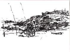 pescadores con caña en la playa. Dibujo a boligrafo y rotulador, tamaño din A4
