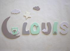 décoration prénom lettres en bois - lettres taille 9 cm : Décoration pour enfants par titemimibois