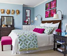Love the colors in this bedroom!