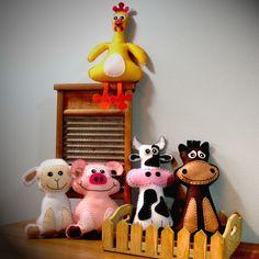 "Pick 2 Farm Stuffed Animal Hand Sewing PATTERNS - ""Barnyard Buddies"" - DIY Felt Cow, Pig, Horse, Chicken, Lamb Plushies - Easy. $7.00, via Etsy."