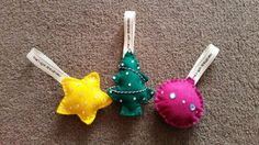 Handmade Felt Christmas Decorations 3 pack by bitsbeads on Etsy