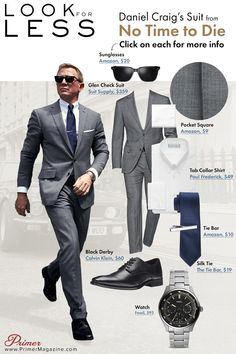 Get James Bond's glen check gray suit look from No Time to Die with these budget-friendly affordable alternatives. James Bond Outfits, James Bond Suit, Bond Suits, James Bond Style, Daniel Craig Suit, Daniel Craig Style, Daniel Craig James Bond, The Suits, Best Suits For Men