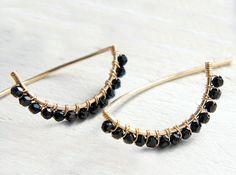 Black Spinel Earrings Black Half Moon Jewelry by Yukojewelry