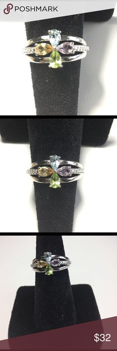 Gemstone Openwork Ring🦋 Girls Jewelry🦋 This piece offers  0.900cts of Multiple Gemstones in Pear Shape. The Openwork brings light into the Gems for optimum sparkle. Platinum Bond Brass. STS.  Amethyst. Peridot. Citrine. Sky Blue Topaz.   🌸🍃🌸 SWEET & so FEMININE. 🌸🍃🌸.      FINAL SALES PRICE💖💖💖 Jewelry Rings