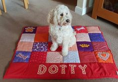 Personalised Gifts Ideas : Happy Birthday to the lovely Dotty.welcome to the gorgeous girl Dog Lover Gifts, Lovers Gift, Dog Lovers, Dog Quilts, Baby Quilts, Personalised Cushions, Personalised Gifts, Dog Blanket, Fabric Gifts