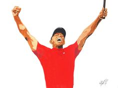 """18""""×24"""" Acrylic on canvas Son of Indy original, featuring Tiger Woods exuberant celebration of winning his fifth Masters and 15th major - a fitting crescendo to years of works in overcoming physical maladies and personally inflicted life injuries. Truly deserved; truly inspiring."""