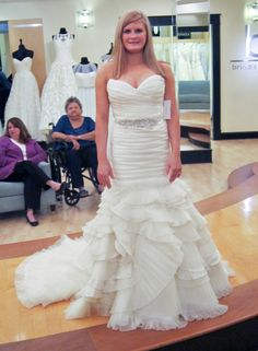 Season 7 Featured Dresses, Part 6. Courtney. Dress info: Lazaro. Natural. Silk satin organza. Fit and flare. Strapless with sweetheart neckline. Criss-cross ruching throughout bodice. Layered ruffles with pleats throughout skirt. $4,950.00. #Wedings #SYTTD.