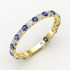 14K Yellow Gold Ring with Diamond & Sapphire - lay_down