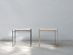 TILDA STOOL - nina mair | architecture | design | austria | steel profile | handmade | round brass | naturally tanned leather | WxLxH = 50x42x49 cm