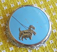 Vintage Silver Mesh Blue Scotty Terrier Compact Whiting Davis Evans Style | eBay