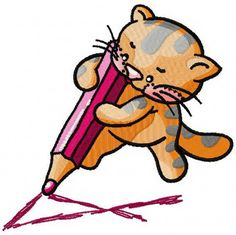 Kitten learns to write machine embroidery design. Machine embroidery design. www.embroideres.com
