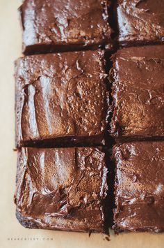 Fudgy Brownies with Chocolate Cream Cheese Frosting - You're going to love this rich and decadent frosted brownies recipe!