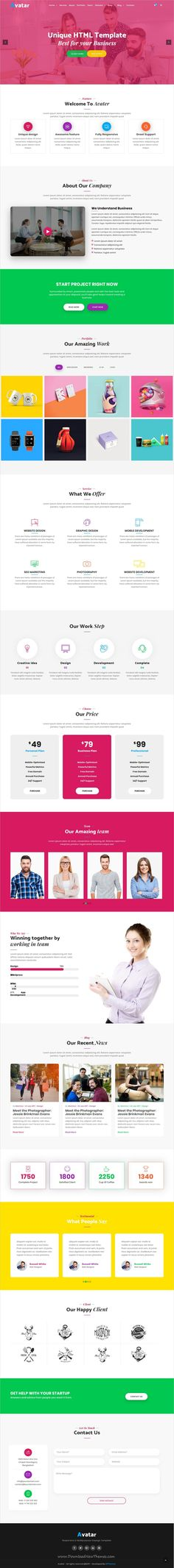 Avatar is clean and modern design responsive #bootstrap template for onepage #startup #business agencies website with 7 niche homepage layouts download now..