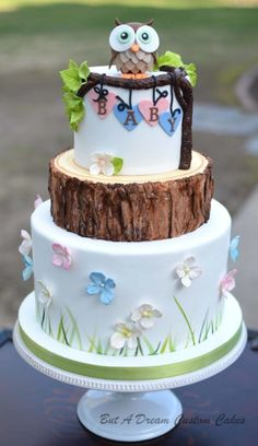 Woodland Baby Shower. This cake is super cute and ideal for a woodland or owl themed baby shower!