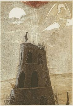 Peter Velikov Tower of Babylon Aquatint 19 x 13 cm. Turm Von Babylon, Tarot, Wild Bull, Bible Story Book, Medieval Drawings, Epic Of Gilgamesh, Tower Of Babel, Ancient Mesopotamia, Tower Design