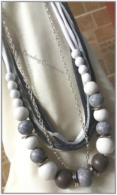 ONE OF A KIND HANDMADE DESIGNER WOODEN BEADS AND T-SHIRT YARN BEADED NECKLACE WITH SILVER CHAIN AVAILABLE FOR R150.00 AT: http://www.bidorbuy.co.za/seller/366992/Beadingcreations